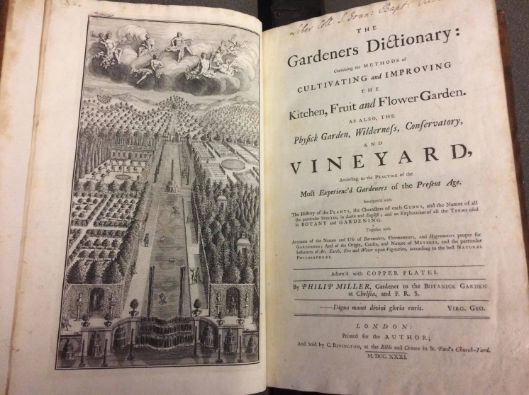 The frontispiece of the Gardeners Dictionary