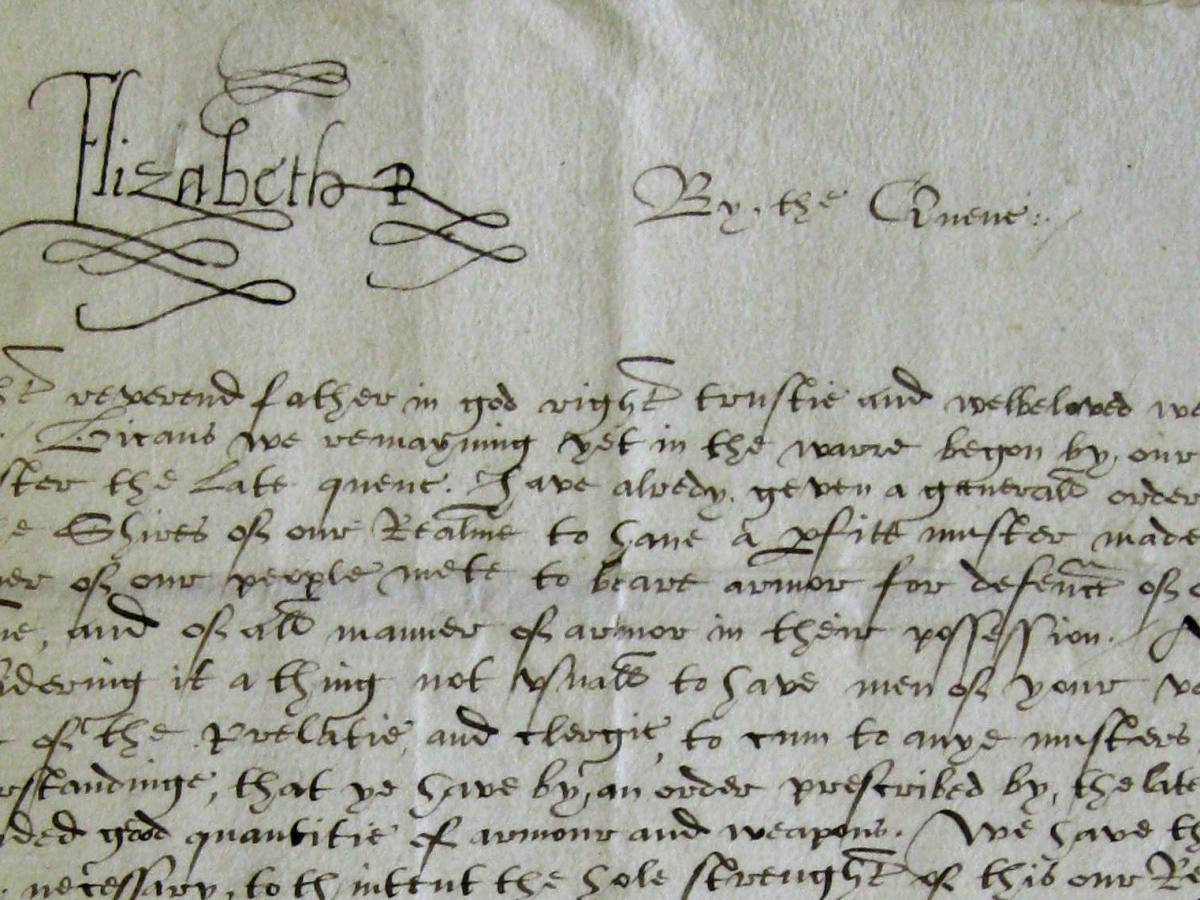 Elizabeth I's signature on the letter