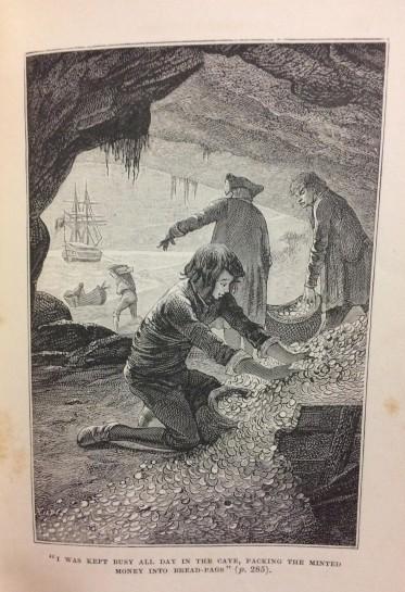 Treasure Island - illustration of Jim Hawkins gathering treasure