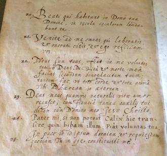 Handwritten prayers in Latin