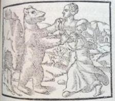 A bear dances with a woman