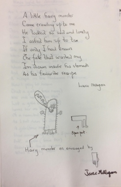 A poem and drawing created by Milligan and his daughters Jane and Laura