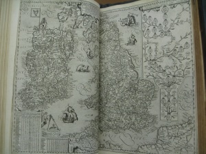 A detailed map of Great Britain and Ireland, with the line of descent of English monarchs on the right, Ortelius (1612)