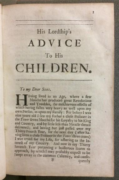 Warrington - advice to his children